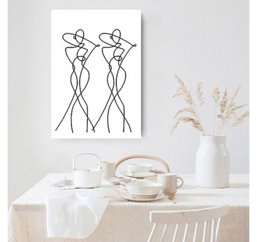 Modern women in a line art canvas print for your wall decoration