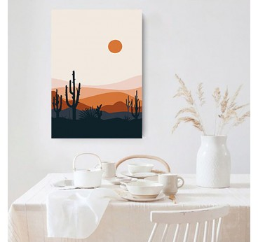 Line art canvas print of landscape with cactus to create a contemporary wall decoration