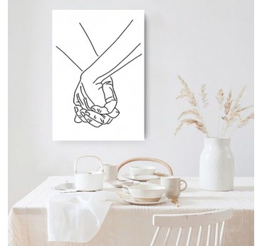 Hands line art wall decoration in a canvas print for a contemporary interior