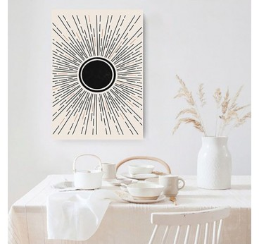 Black sun boho wall canvas print for an interior decoration with style