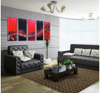 Red Wave Fusion Abstract Polyptych