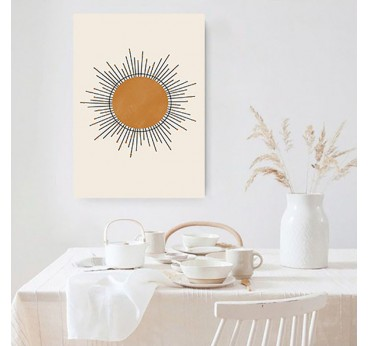 Boho canvas print of the sun with the lights for a contemporary wall deco