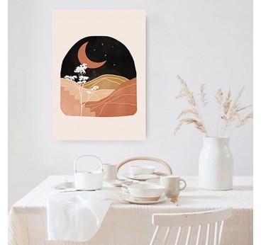 Moon boho wall canvas for a modern interior decoration