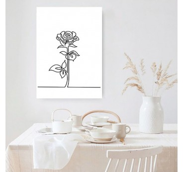 Rose line art canvas print for a contemporary wall decoration