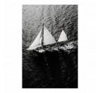 Black and white sailboat on alumunium wall decoration for interior