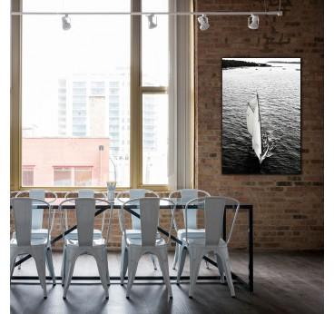 Sailboat skyline on a design aluminium frame for a modern interior