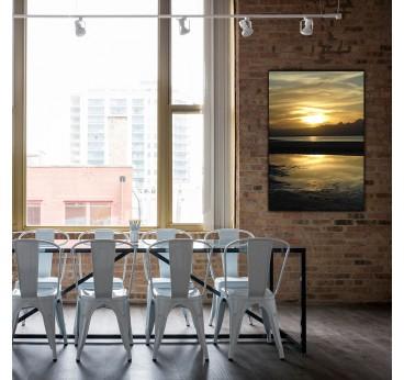 Photo d'art de coucher de soleil avec des couleurs jaunes pour une décoration murale moderne