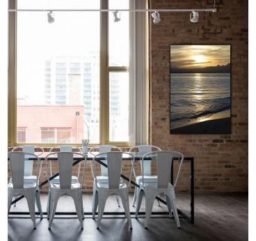 Photo d'art sur aluminium du coucher de soleil avec de belles couleurs pour votre décoration murale