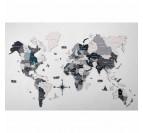 Carte du monde en bois avec effet 3D en différentes nuances de gris