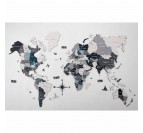 Grey wooden world map wall decoration in a 3D style for your interior