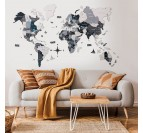 Grey 3D wood world map for a stylish interior decoration