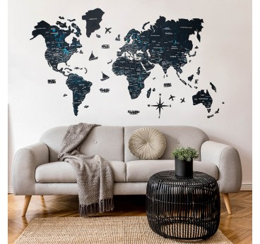 Black version of the wooden world map for an unique interior decoration