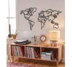 Décoration murale métallique de la carte du monde en versions line art pour une touche moderne