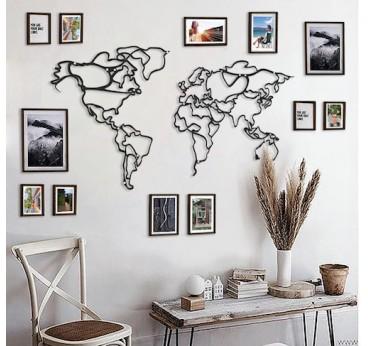 Carte du monde en métal avec une version line art en déco murale pour votre intérieur