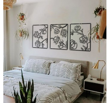 Flowers metal wall decoration for interior with a design touch