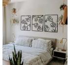 Décoration murale métal de fleurs en trois panneaux pour une tête de lit moderne et design