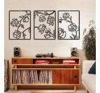 Floral metal wall deco for a boho interior in 3 panels