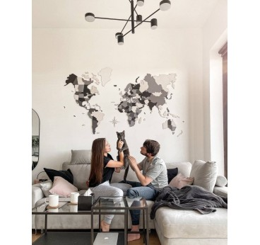 Scandinavian 3D world map in wood for a contemporary interior decoration