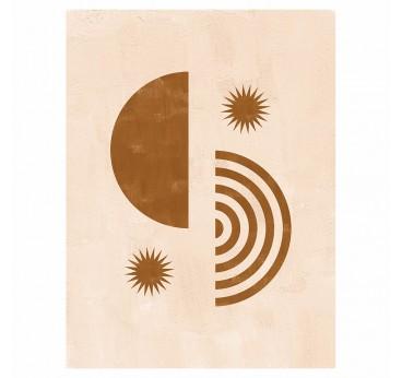 Tableau toile contemporain avec des soleils et un duo de formes dans des couleurs crèmes pour votre déco murale