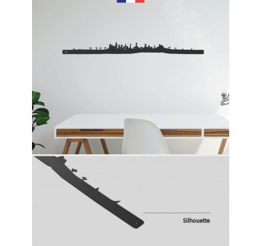Metal design skyline of the city of Nice in the south of France for a design interior