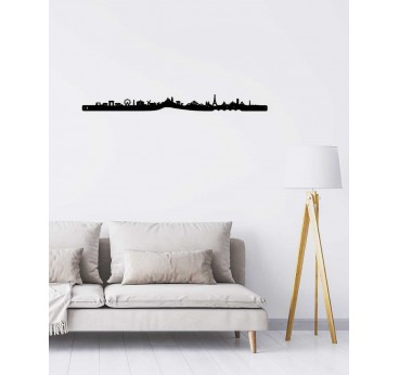 Paris skyline in metal wall decoration for an unique interior