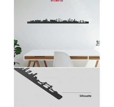 Metal skyline of London in a contemporary wall decoration