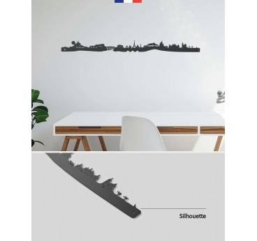 France metal wall skyline decoration with all the symbols of the country like the Eiffel Tower