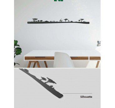 African metal wall decoration with this skyline with all the animals of the Savanna