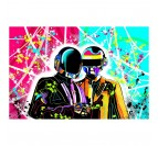 Tableau street art des Daft Punk avec des couleurs rouge et bleu pour une déco murale explosive