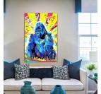 Tableau street art de gorille dans une version colorée pour une déco murale pop art