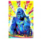 Gorilla street art wall canvas with red and yellow colors