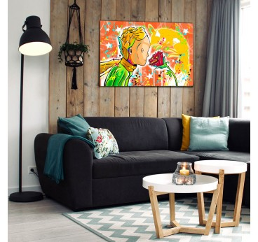 The little prince street art wall canvas for a modern interior
