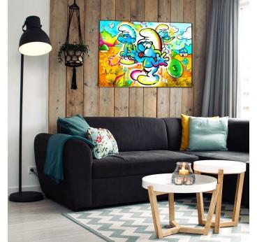 Smurfs street art canvas for a design wall decoration