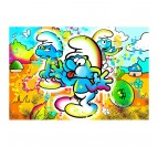 Smurfs street art canvas with different colors