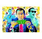 Tableau street art du film le Loup de Wall Street dans une décoration murale moderne