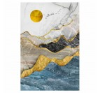 Gold and grey oil painting canvas for a modern interior