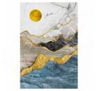 Toile peinture moderne et contemporaine de montagne avec des couleurs dorées, bleues et grises