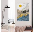 Tableau peinture design avec plusieurs montagnes dans une décoration murale de salon