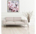 Pink flowers oil painting on canvas for a modern wall decoration
