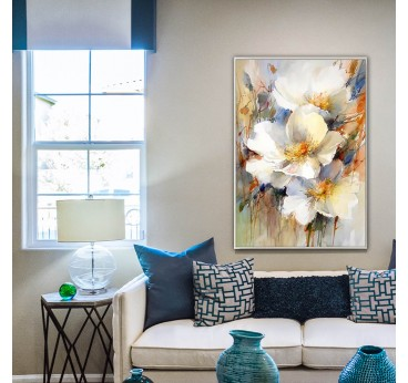 Multicolor flowers oil painting on canvas from our artist for a modern wall decoration