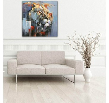 Lion portrait in a abstract style on oil painting canvas for your wall decoration