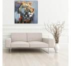 Tableau peinture sur toile de portrait de lion dans une version abstraite pour votre décoration murale