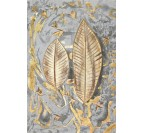 Gold feather oil painting on canvas with a grey background frame