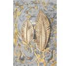 Toile peinture tableau de plumes en or avec un fond gris pour une touche moderne