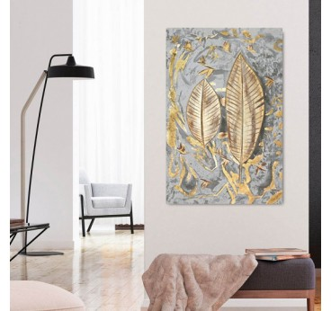 Gold feather oil painting on canvas in a design wall decoration