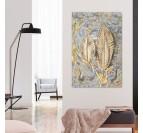 Tableau peinture moderne de plume d'or pour créer une décoration murale contemporaine