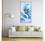 Large blue oil painting on canvas of a flower for your wall decoration
