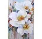 White flowers with a multicolor background on an oil painting canvas for a beautiful wall art