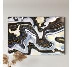 Installation de notre tableau abstrait en marbre noir et blanc pour un intérieur contemporain