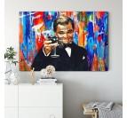 Gros plan sur notre tableau pop art du personnage Gatsby par Leonardo Dicaprio